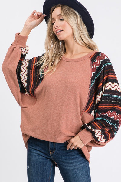 Bishop Sleeve Top chevron boutique boho pretty