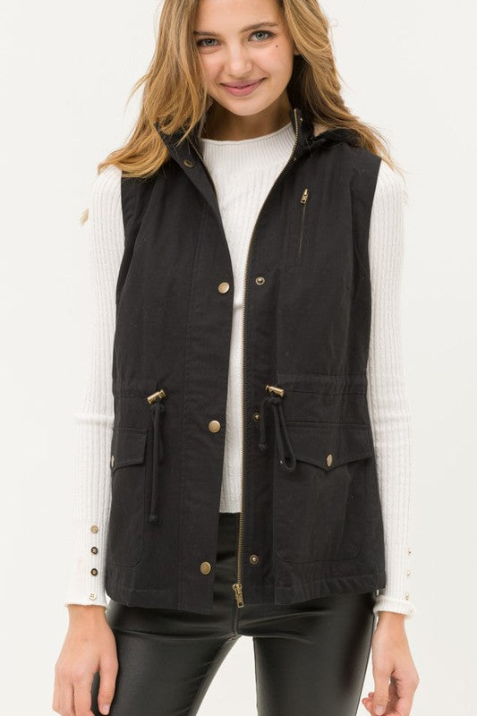 black faux fur lined anorak vest boho pretty online womens fall boutique clothing