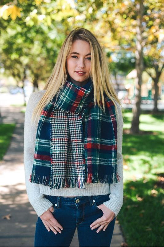 blanket scarf, plaid, navy-green, boho pretty, womens fashion.jpg