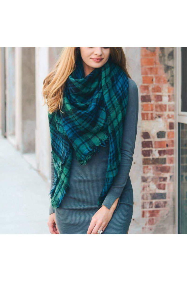 green blue classic plaid scarf boho pretty boutique women winter scarf accessories