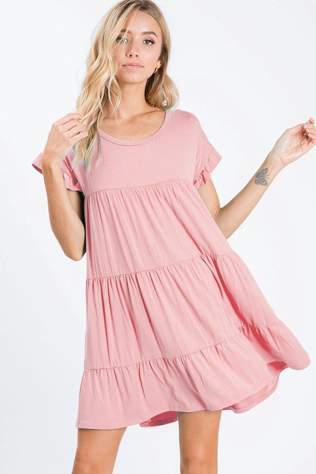 blush tiered jersey knit dress bibi boutique boho pretty