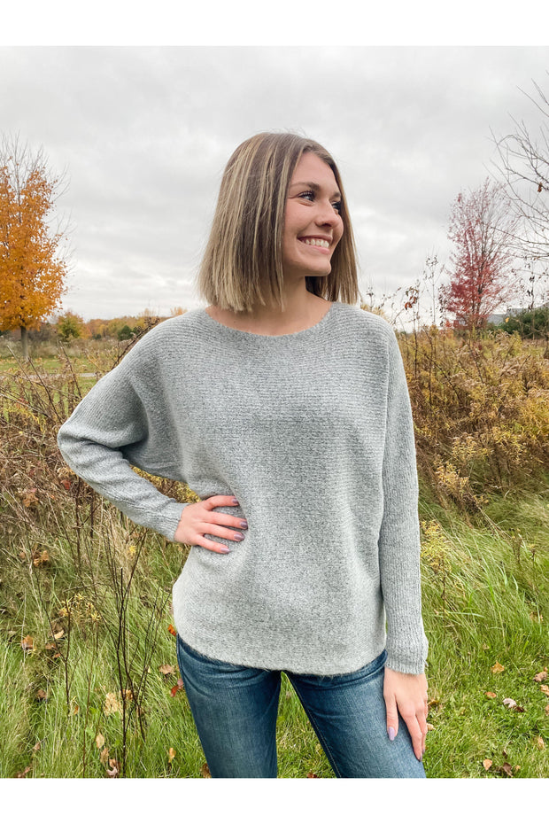 boat neck super soft sweater orchid and heather grey boho pretty online fall winter womens boutique clotihng