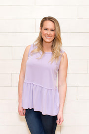 Just Relax Top, Lilac, Mauve, Charcoal, Smocking, Sleeveless, Boho Pretty