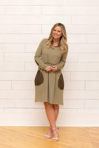 Suede Pocket Babydoll Dress