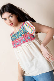Aztec Embroidered Knit Top.  Great Quality   100% Cotton thml boho pretty boutique