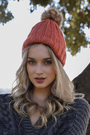 Persimmon Faux Fur Pom Hat Beanie Boutique