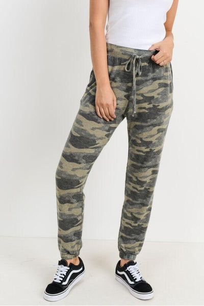 Camo Soft Brushed Joggers With Pockets.