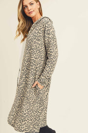 LEOPARD, CASHMERE BRUSHED, HOODED CARDIGAN WITH AN OPEN FRONT CONSTRUCTION, LONG SLEEVES, ON SEAM POCKETS