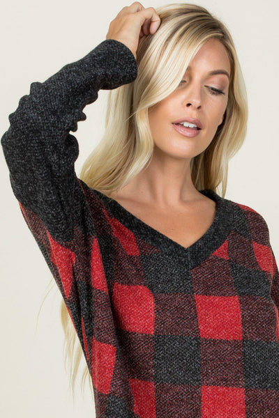 Comfy Cozy Red And Black Buffalo Print V-Neck.