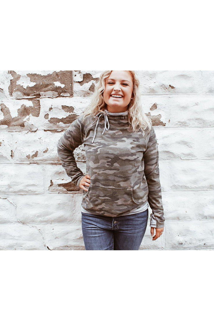 Calm and camo double hood boho pretty boutique online womens clothing fall