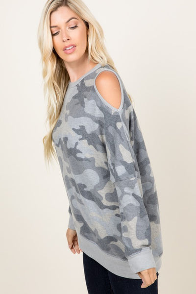 Camouflage Print Cold Shoulder Top boutique boho pretty