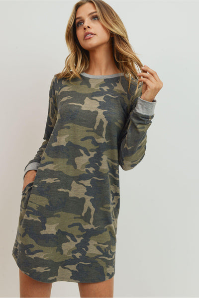 You can never have enough camo!  There is so many ways to wear this: Leggings,Tall Boots, Layers and more!  Loose Fit Round Neck Long Sleeves Raglan Camo French Terry Dress.  AND POCKETS!   63% Polyester 34% Rayon 3% Spandex