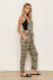 CAMO PRINT OVERALLS -POCKETS -96% POLYESTER 4% SPANDEX