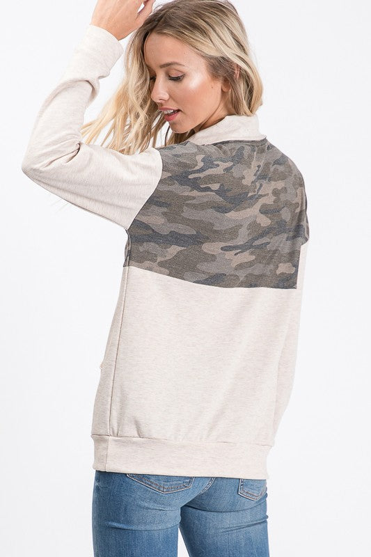 Quarter Zip Camo Pullover With Pockets.