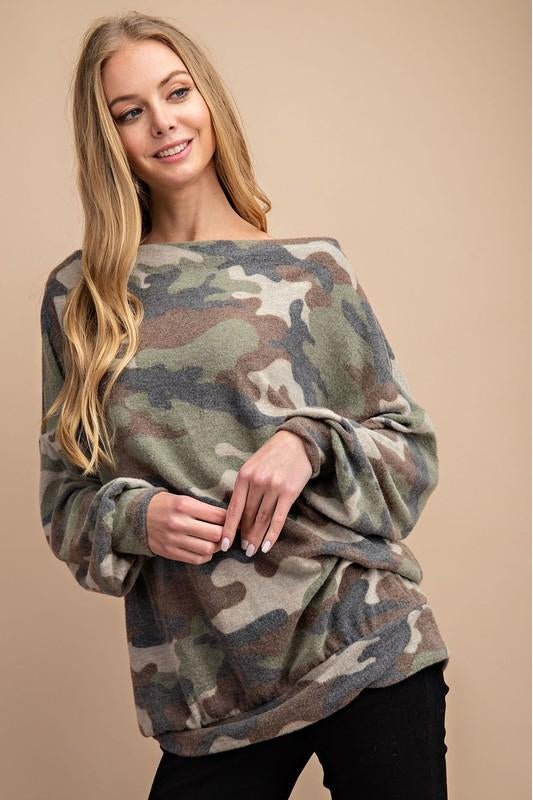 boho pretty boutique This Neckline is So Flattering , Brushed Camouflage Printed Knit Top With Shoulder Zipper Detail.