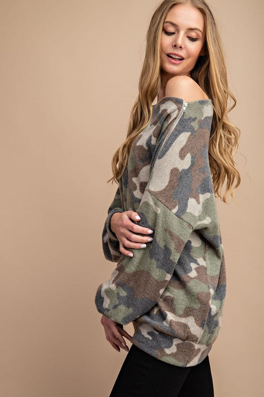 This Neckline is So Flattering , Brushed Camouflage Printed Knit Top With Shoulder Zipper Detail.  boho pretty boutique camo