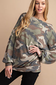 This Neckline is So Flattering , Brushed Camouflage Printed Knit Top With Shoulder Zipper Detail.  boho pretty boutique