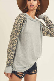 Super Soft Top!  Cashmere Brushed Top With A Round Neckline, Leopard Raglan Long Sleeve.