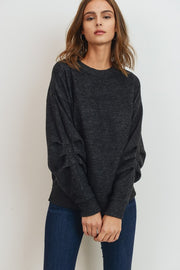 This Top is Extremely Soft and A Staple For the Colder Months!   Wool Brush Pleated Sleeves Pullover Top.   81% Polyester 15% Rayon 4% Spandex