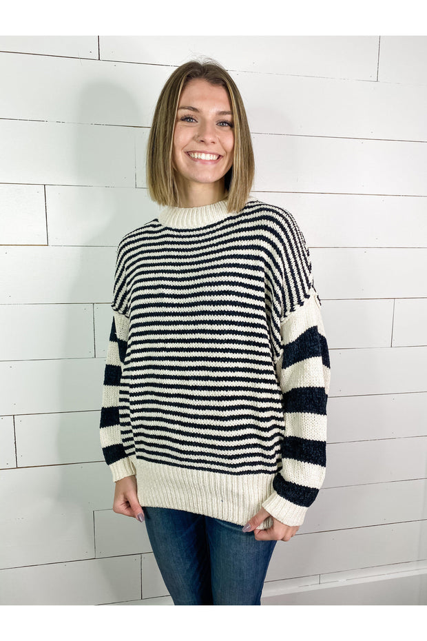 chenille black and white stripe sweater boho pretty online mobile womens fall winter clothing