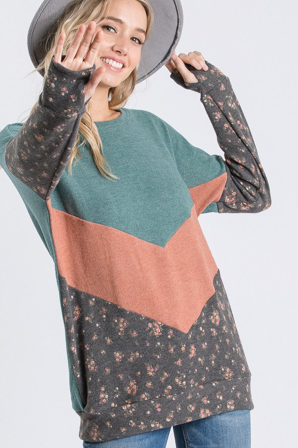 Hunter Green,Coral and Floral Print Pullover. boho pretty boutique