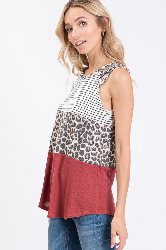 Color Block Tank With Leopard Brick.