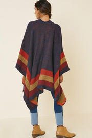 Colorblock Stripe Kimono Sweater Colorblock Sweater Fabric Open Front Closure Relaxed Silhouette  ONE SIZE
