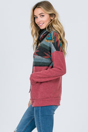 dark mauve aztec cowl neck sweatshirt boho pretty boutique