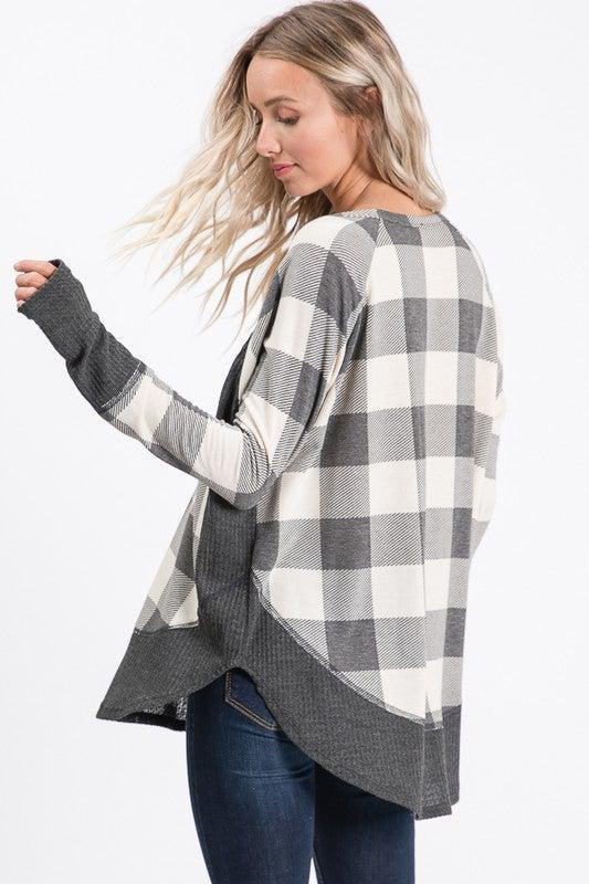 cream charcoal plaid long sleeve boho pretty boutique