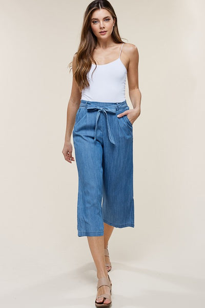 Elastic Waist, Self Tie Belt, Side Pockets, Culottes, Washed, Denim Pants