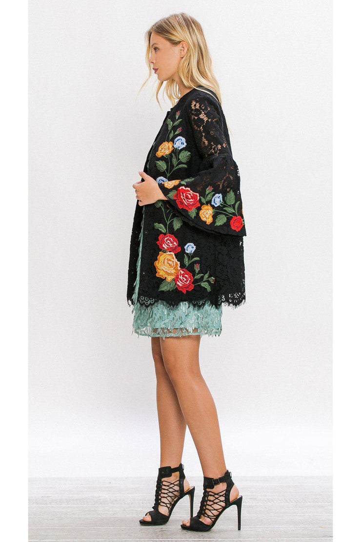 embroidered jacket, black floral, detailed, womens fashion, boho pretty
