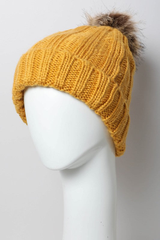 Mustard faux fur pom hat boutique