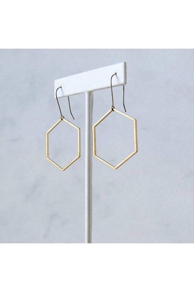 Length: 2 3/8 Inches; Drop length: 2 3/8 Inches; Width: 1.25 Inches  Lightweight geo dangles made with delicate hexagon shapes on simple nickel-free hooks. They are great everyday earrings that are modern, smart looking, and so easy to wear.