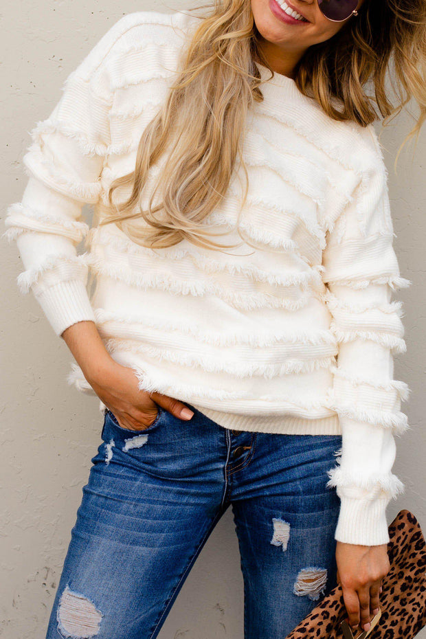 Fringe Pullover Sweater Ivory Boho Pretty Boutique