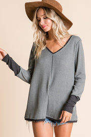 Waffle Knit Fabric Casual Top, Features Long Sleeve, V-Neck Double Layer Neck and Bottom Raw Edge Lounge.