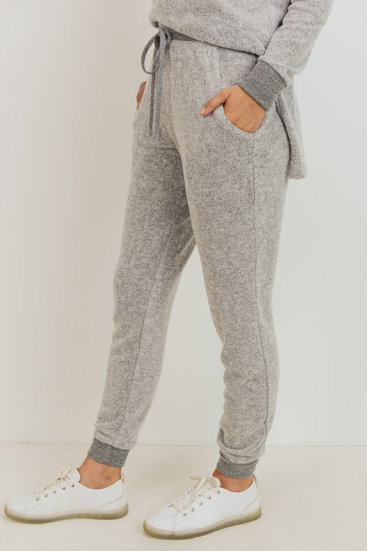 Brushed Knit Long Joggers Loose Fit With Pockets And Drawstring Waist. boutique boho pretty