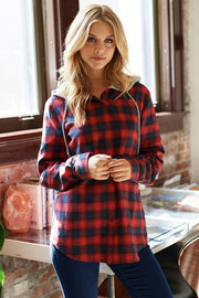 hoodie, red, plaid, long sleeve, boho pretty, womens fashion