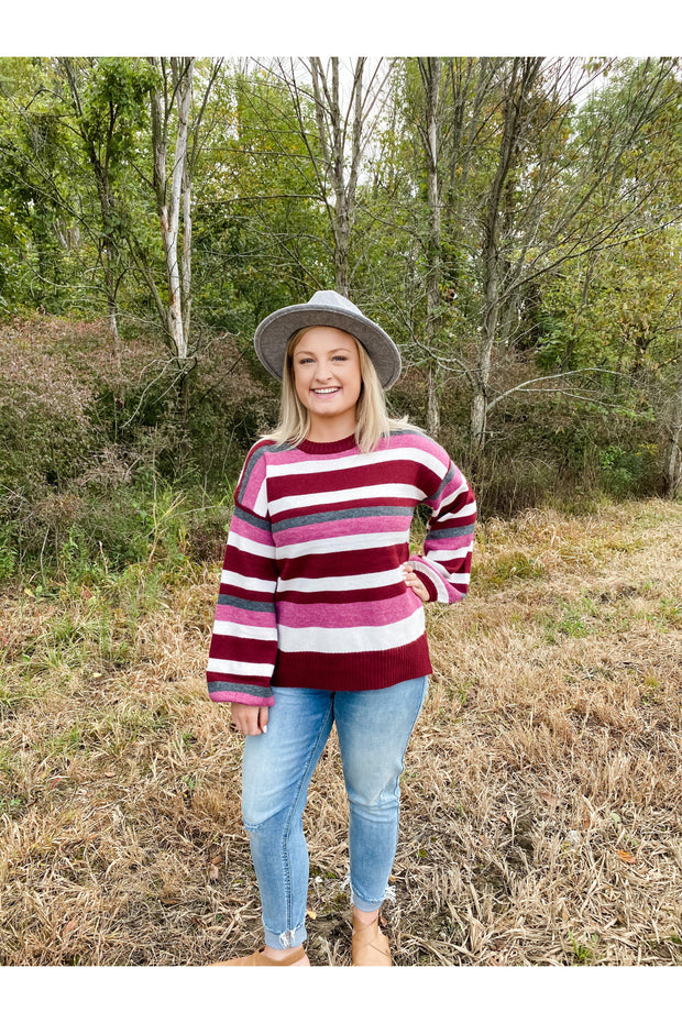 Sweet Stripe Puff Sleeve Sweater