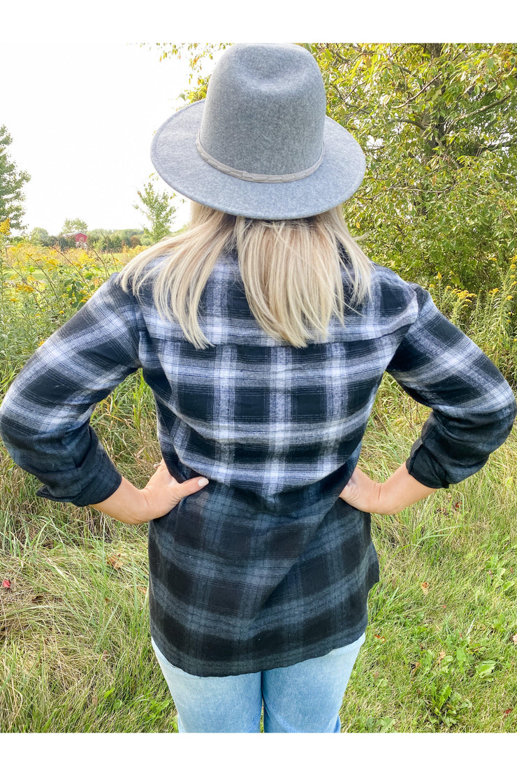 Black Ombre Plaid Top