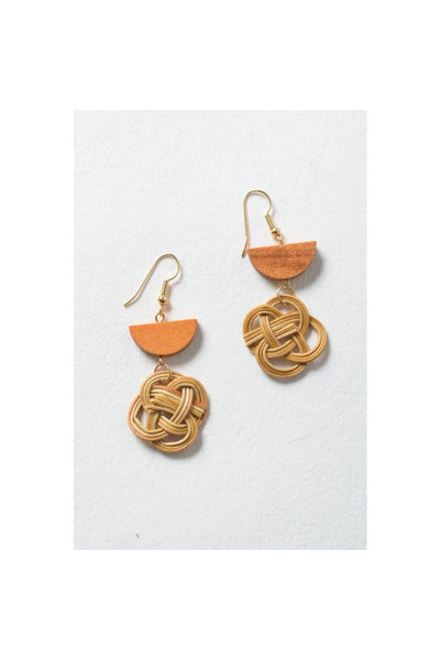 "Interwoven Rattan Earrings.  2.5"" Drop 100% Rattan  Lightweight, beautiful, all natural."