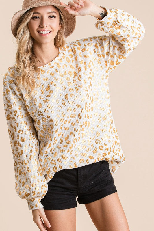 Leopard Print Waffle Knit Top With Balloon Sleeves.