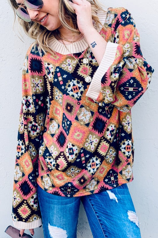 Boho Style Wide Bell Sleeve Knitted Top Boutique Style