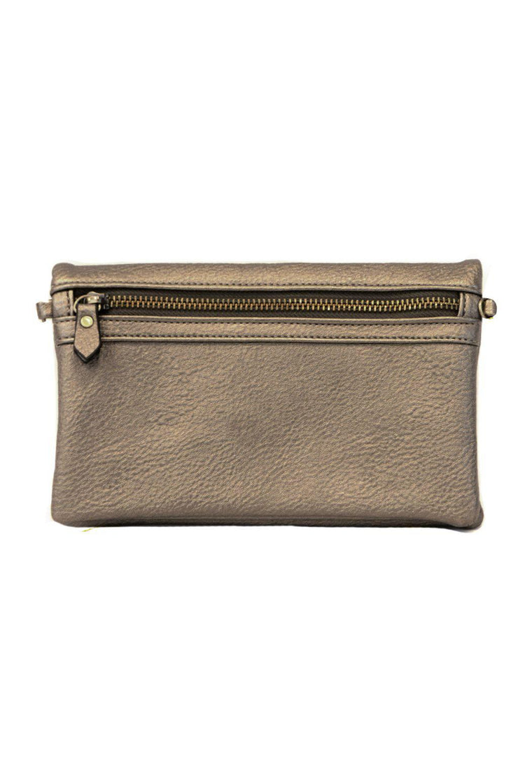 "It's just the right size for carrying all your essentials. Features three zip compartments, 6 credit card slots and a license pocket. Style it with either the slender wristlet strap or slim  Made With Vegan Leather.  8"" W x 5""H x 1.5""D 11-23"" Crossbody Strap Drop 6 Credit Card Slots and License holder 3 Zippered Compartments pewter"