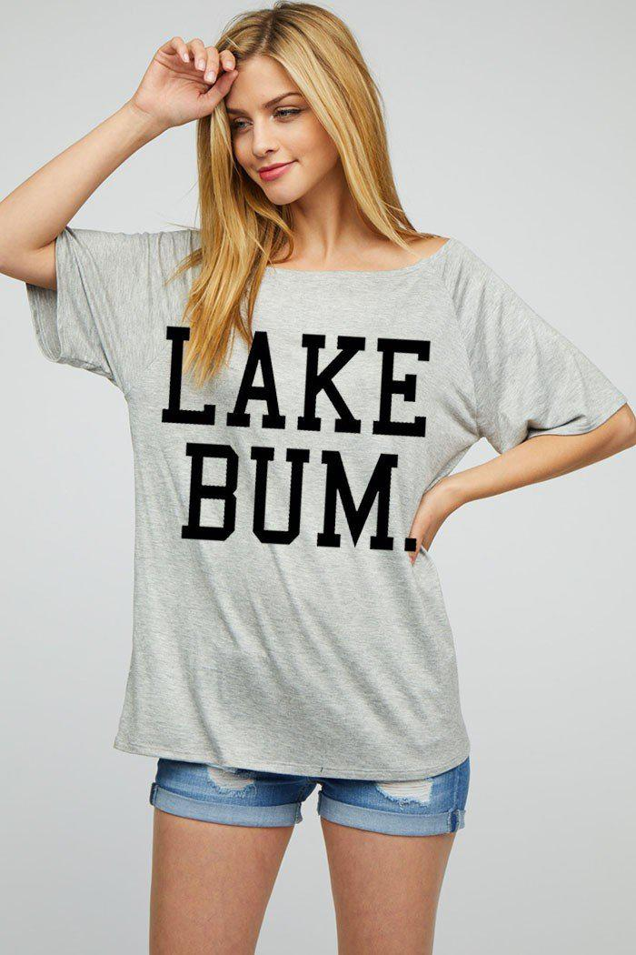 "LOOSE FIT ""LAKE BUM"" GRAPHIC KNIT RAGLAN TOP"