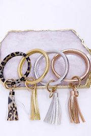 Leather designer Bangle Keychain Boutique Style Hoop