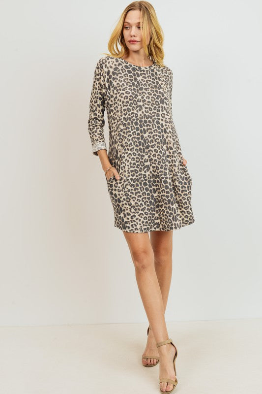 SUPER SOFT Leopard Raglan Pocket Dress boutique boho pretty