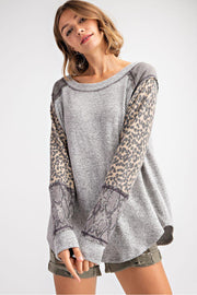 leopard snake print long sleeve gray boho pretty boutique