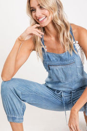 bibi overalls pockets light denim boho pretty boutique
