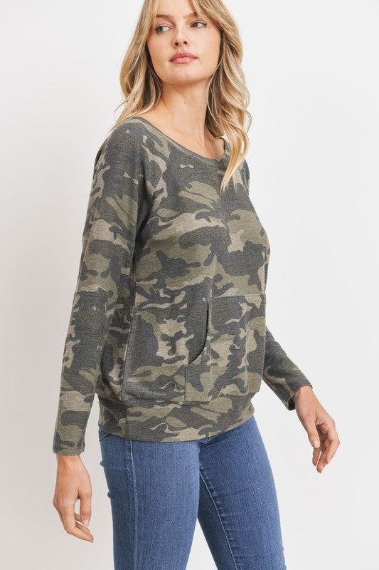 loose fit long sleeve raglan top camo print heavyweight french terry fabric top boho pretty online boutique