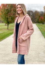 mauve long cardigan sweater coat with hood boho pretty online mobile fall fashion boutique womens clothing